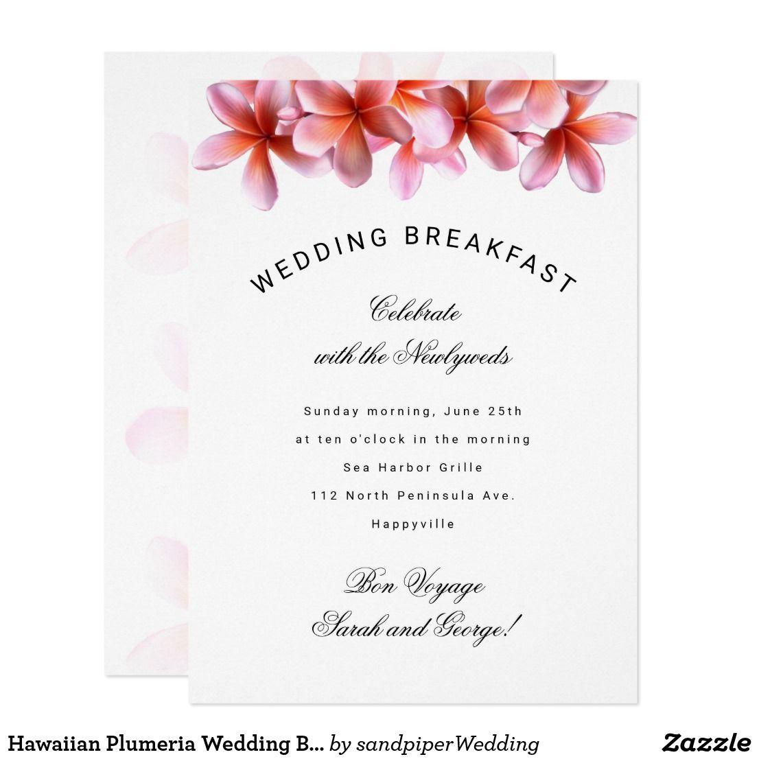 Hawaiian Plumeria Wedding Breakfast Invitation | Designer Wedding ...
