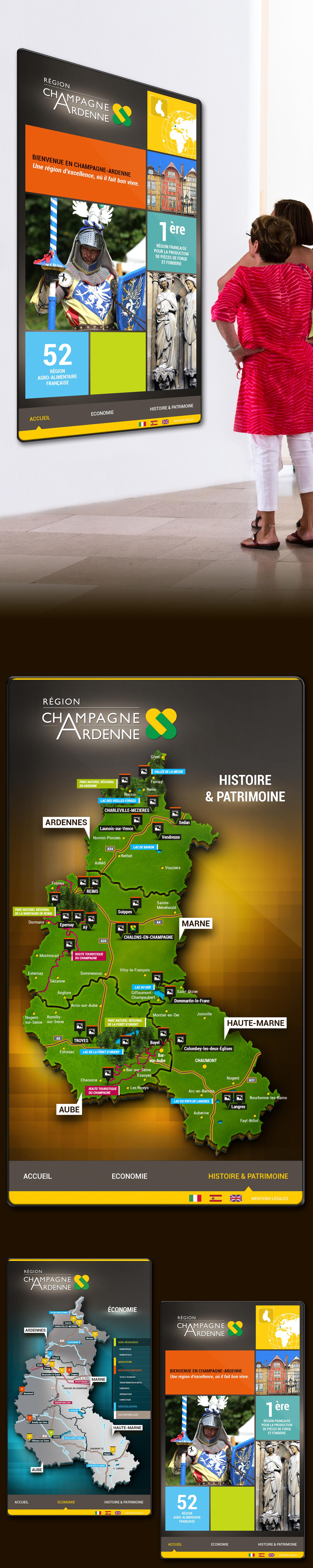 Design d'une application tactile pour l'Office du Tourisme. Cette présentation a pour but de montrer les atouts de la région Champagne-Ardenne tant au niveau touristique et culturel, qu'au niveau économique - Agence de Design Regliss.com #design #tactile #touch #application