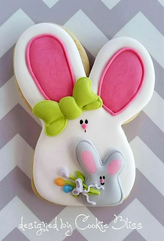 Easter bunny cookies by Cookie Bliss