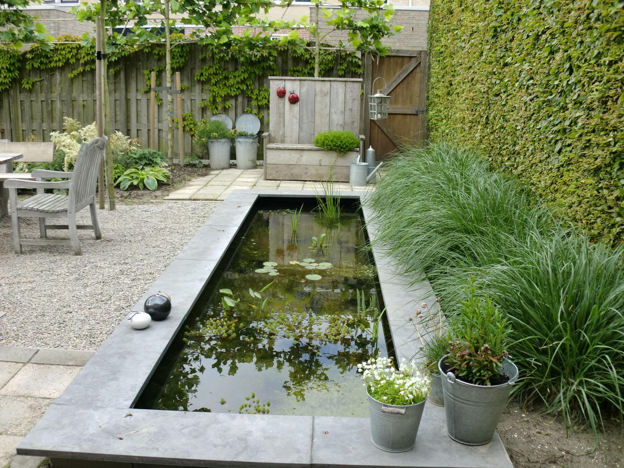 Rechthoekige vijver in landelijke tuin rectangle pond in country