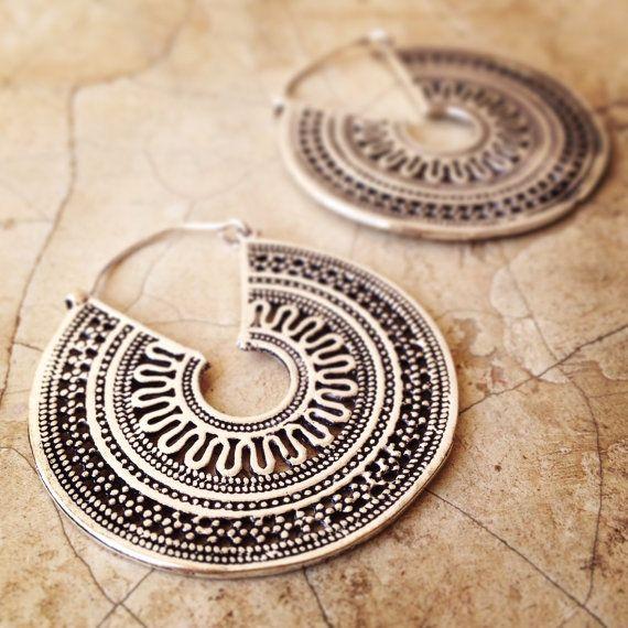 Gypsy Earrings Boho Earrings Oxidized Silver Plate Dangle Earrings Hoop Earrings Belly dance earrings Chandelier Earrings