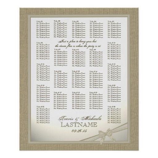 Burlap And Bow Wedding Seating Chart Print