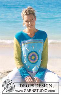 """Crochet / DROPS tröja i """"Paris"""" med virkad sol, pärlor och hålmönstrade mansjetter ~ DROPS Design"""