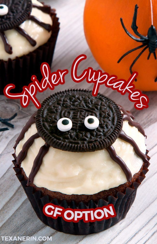 Spider Cupcakes are EASY to make and make a perfect Halloween treat. The cupcake base is made with pumpkin and has a cream cheese frosting on top. These healthy spider cupcakes have gluten-free, grain-free, whole grain, and all-purpose flour options making them a cupcake that many different people can eat! There is even a how-to recipe video included in to help you with these delicious Halloween cupcakes. #recipe #dessert #fall #Halloween #cupcakes #homemade #halloweencupcakes