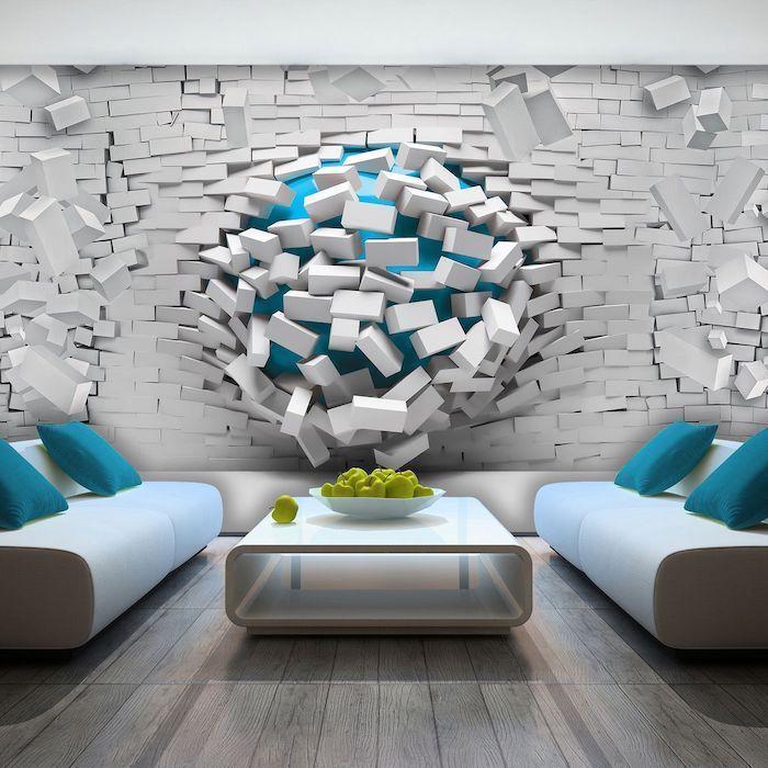 3d Printed Wallpaper Wall Design White Sofas Coffee Table Blue Throw Pillows Pinterest Wall Art Wall Wallpaper Wall Art Designs