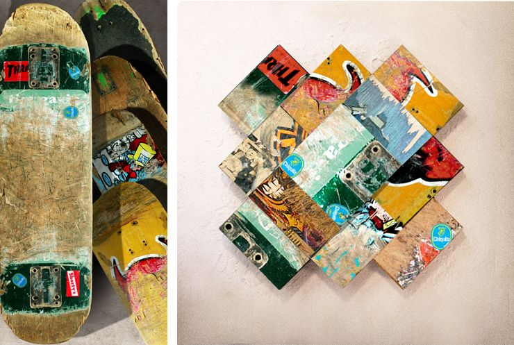 cool idea for old skateboards... although would rather see them being used as skateboards... >Made from recycled skateboard decks