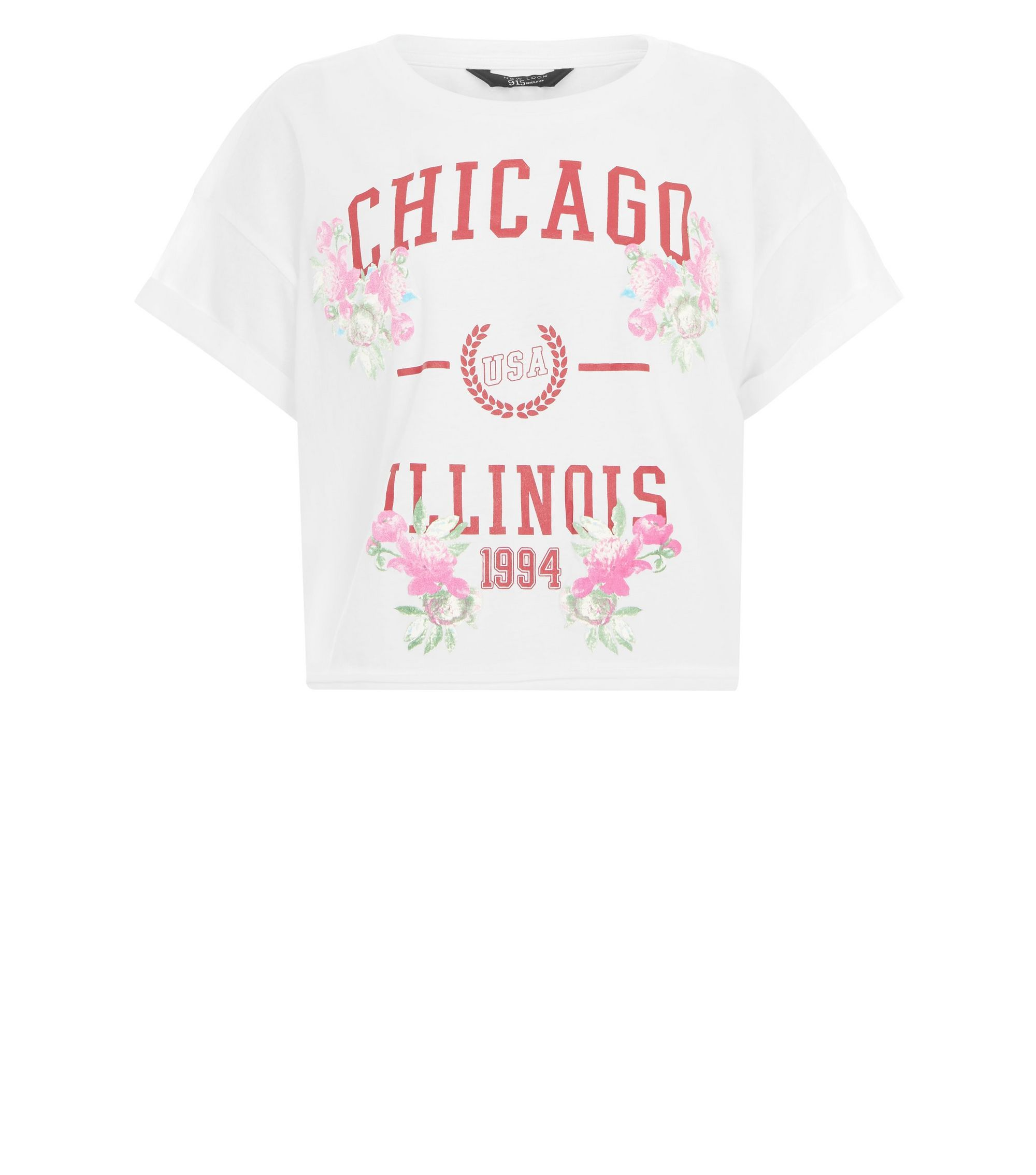 Teens White Chicago Slogan Puff Print T-Shirt  | New Look