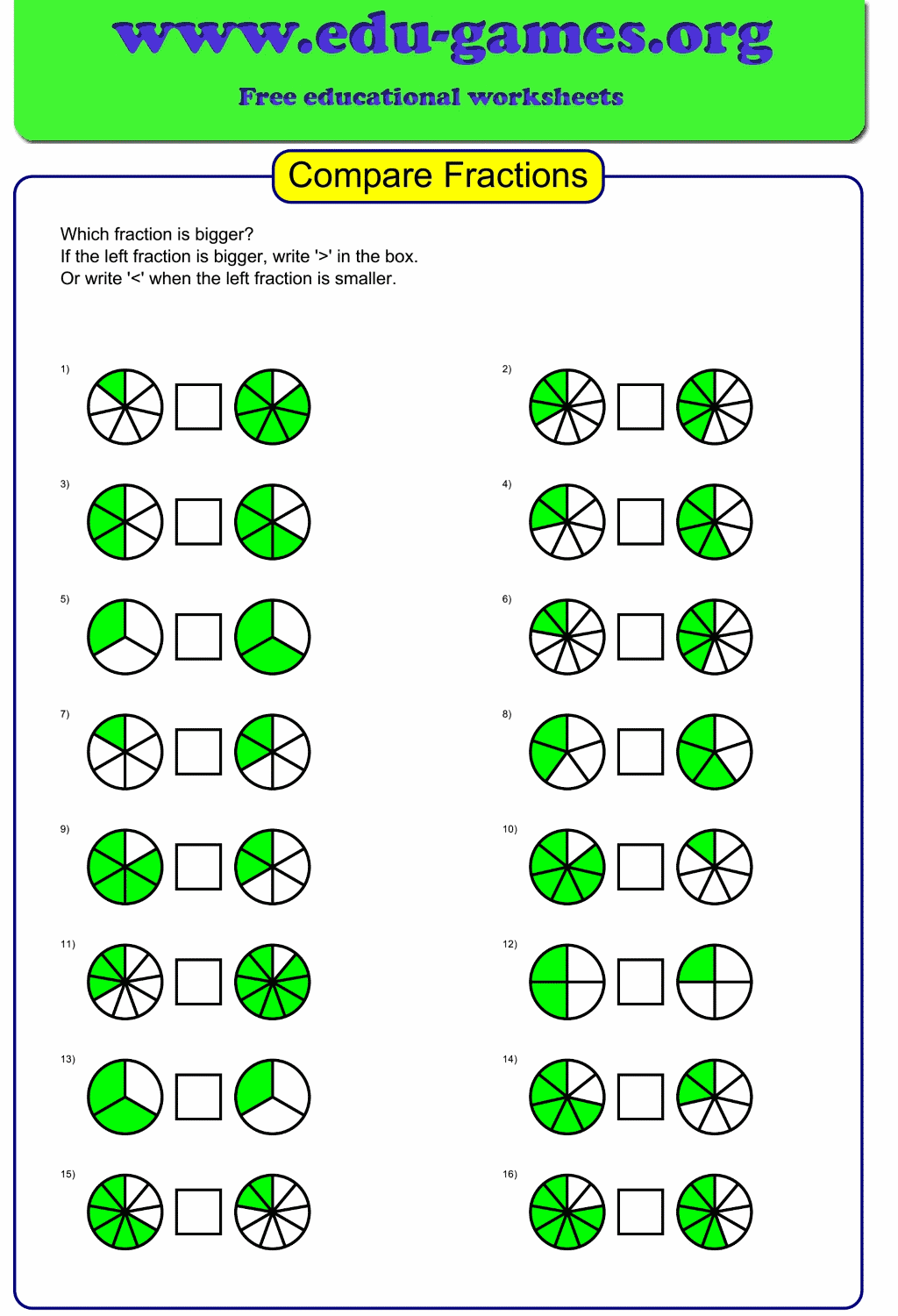 Compare Fractions The Fractions Are Showed As A Pie You