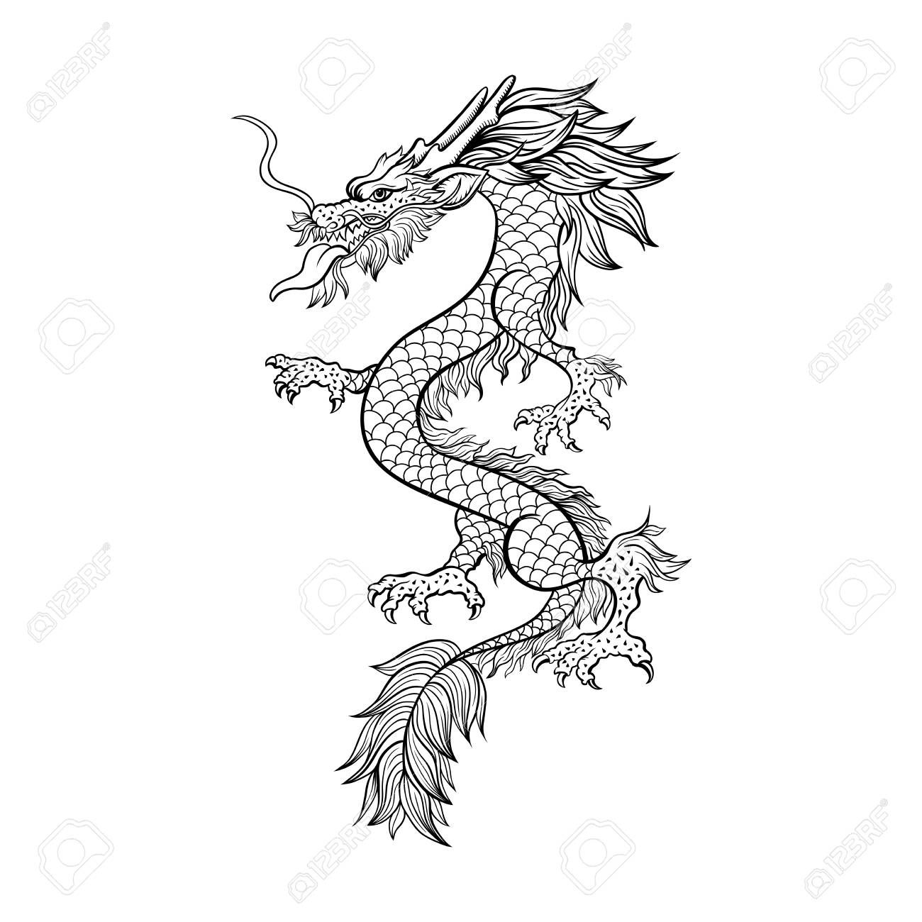 30+ Chinese dragon clipart black and white information