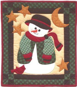 """Rachel's Of Greenfield Snowman Quilt Kit-13""""X15"""" :           Wrapped in a warm flannel coat cozy hat and toasty mittens this joyf ul snowman is ready for even the coldest of winter nights.  A tiny car dinal friend snuggles up against him to spend the night.  An enchantin g little quilt to brighten the entire winter season.  Colors a..."""