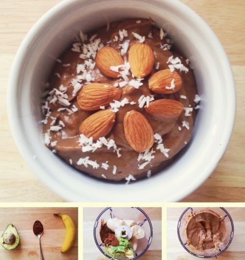 """Fake"" chocolate mousse - 1 banana, 1/2 avocado, tbsp. cocoa powder"