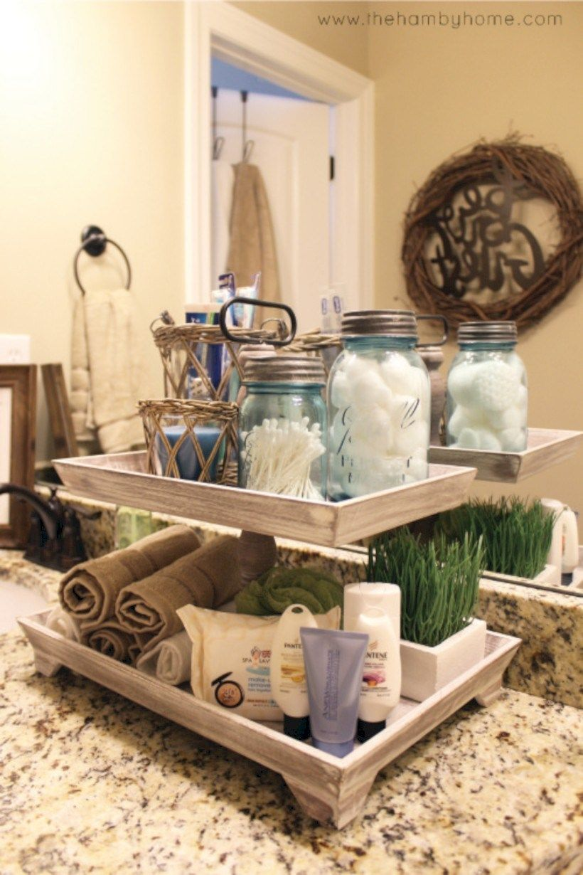 Pin by phyllis listin on bathroom ideas in 2019 - How to decorate a bathroom counter ...