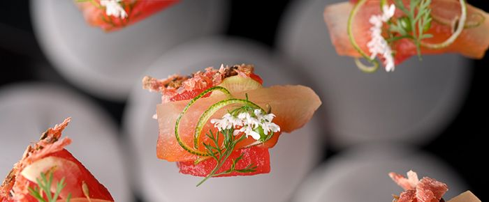 Watermelon. From the Alinea, the restaurant rated #6 in the world's greatest restaurants.