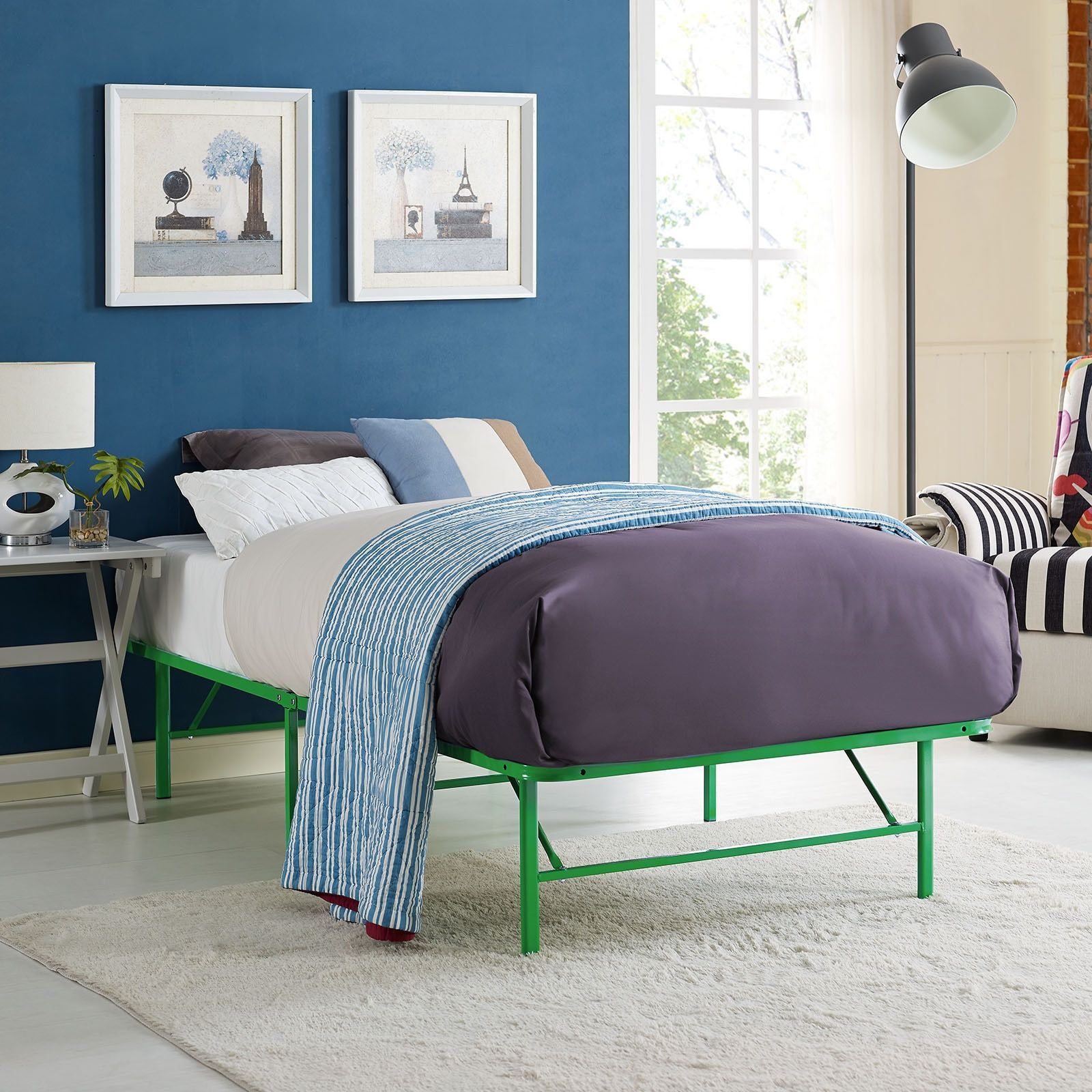 Modway Horizon Stainless Steel Twin Bed Frame in Green (Twin)