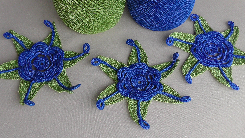 Урок вязания. Вязаные крючком цветы. How to crochet flower.Ирландское кр...