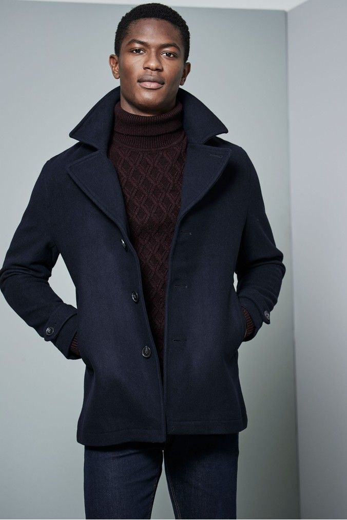 e5ec0f74f4c5 Mens Next Navy Single Breasted Peacoat - Blue Turtle Neck, Navy, Coat,  Sweaters