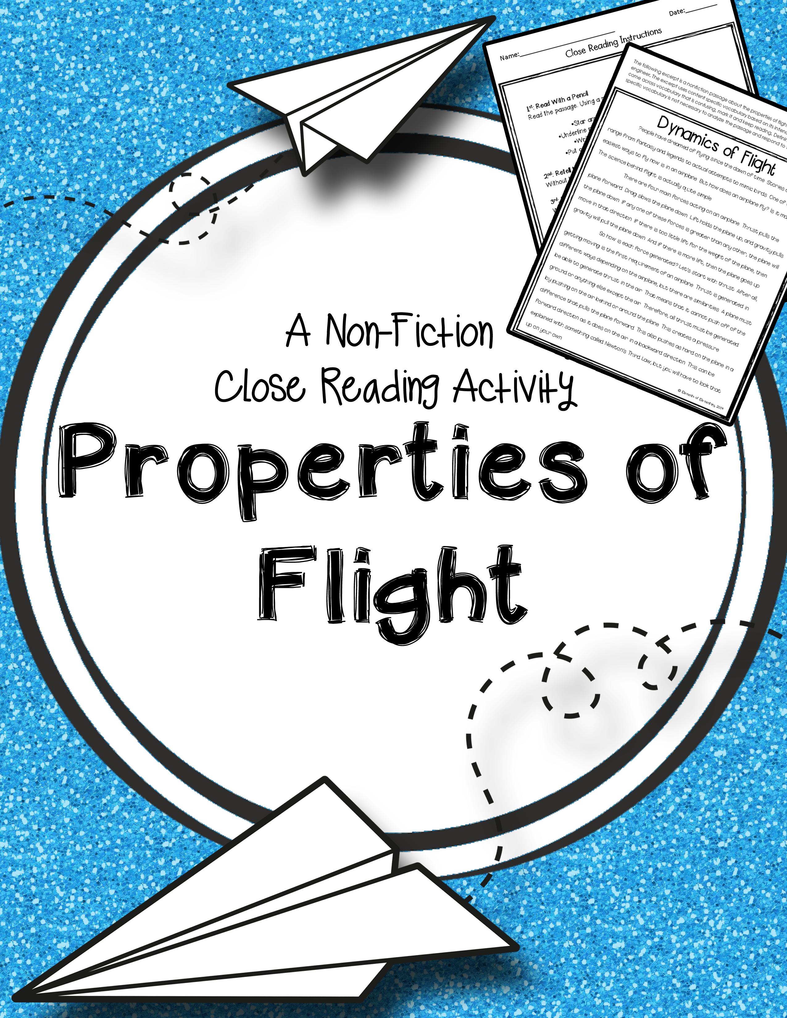 Properties Of Flight A Nonfiction Close Reading Activity