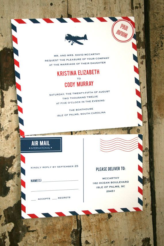wedding invitation sample by email%0A Vintage Air Mail Wedding Invitation by jackandjillwedding on Etsy  loving  the perforated functional reply card   Wedding Ideas   Pinterest   Weddings