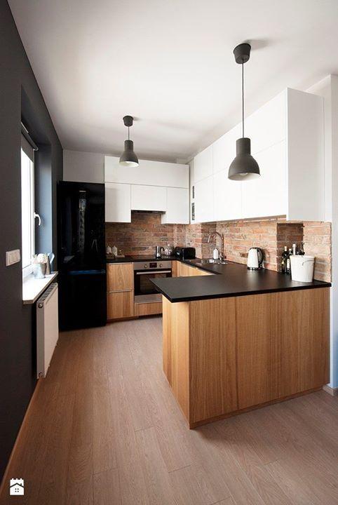 Kuchnia Biała Czarny Blat Drewniana Mała Home In 2019