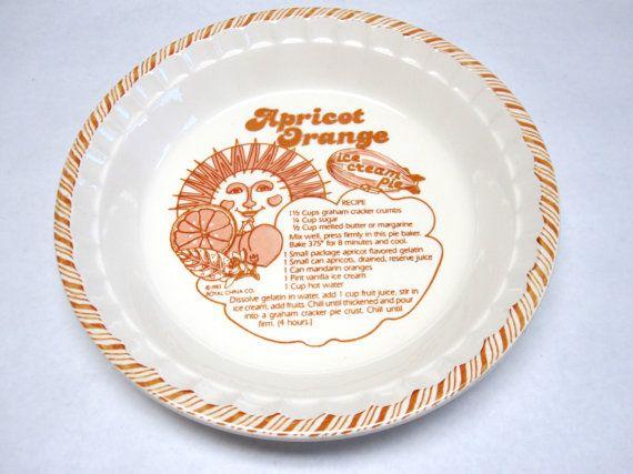 Pie Pan Royal China Decorative Plate Apricot Orange Ice Cream Pie
