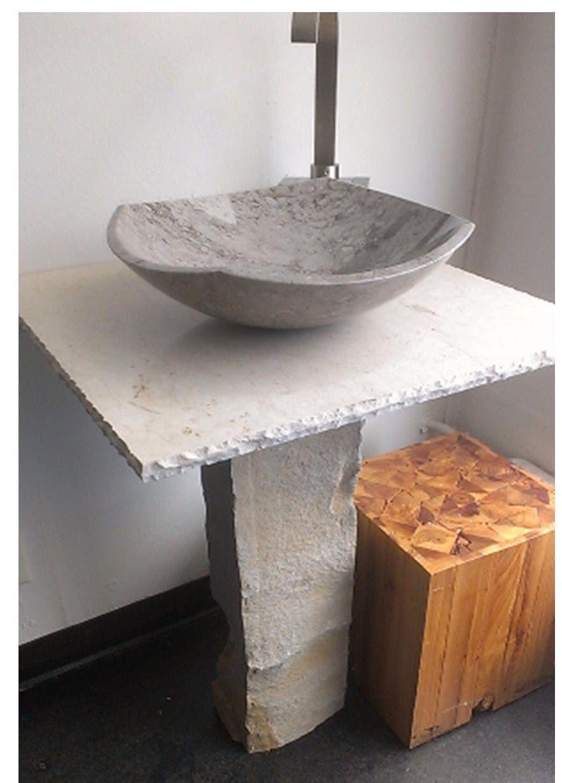 "21"" Wide Cream Grey Stone Bathroom Vessel Sink Basin Vanity with Marble Countertop by FolaTreasures on Etsy https://www.etsy.com/listing/504485433/21-wide-cream-grey-stone-bathroom-vessel"