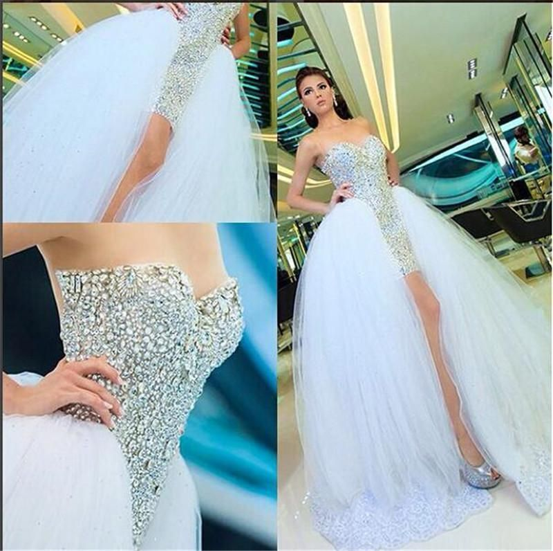 Wedding Gowns Outlet: Short Luxury Wedding Dresses 2016 Sparkly Crystals Sheer