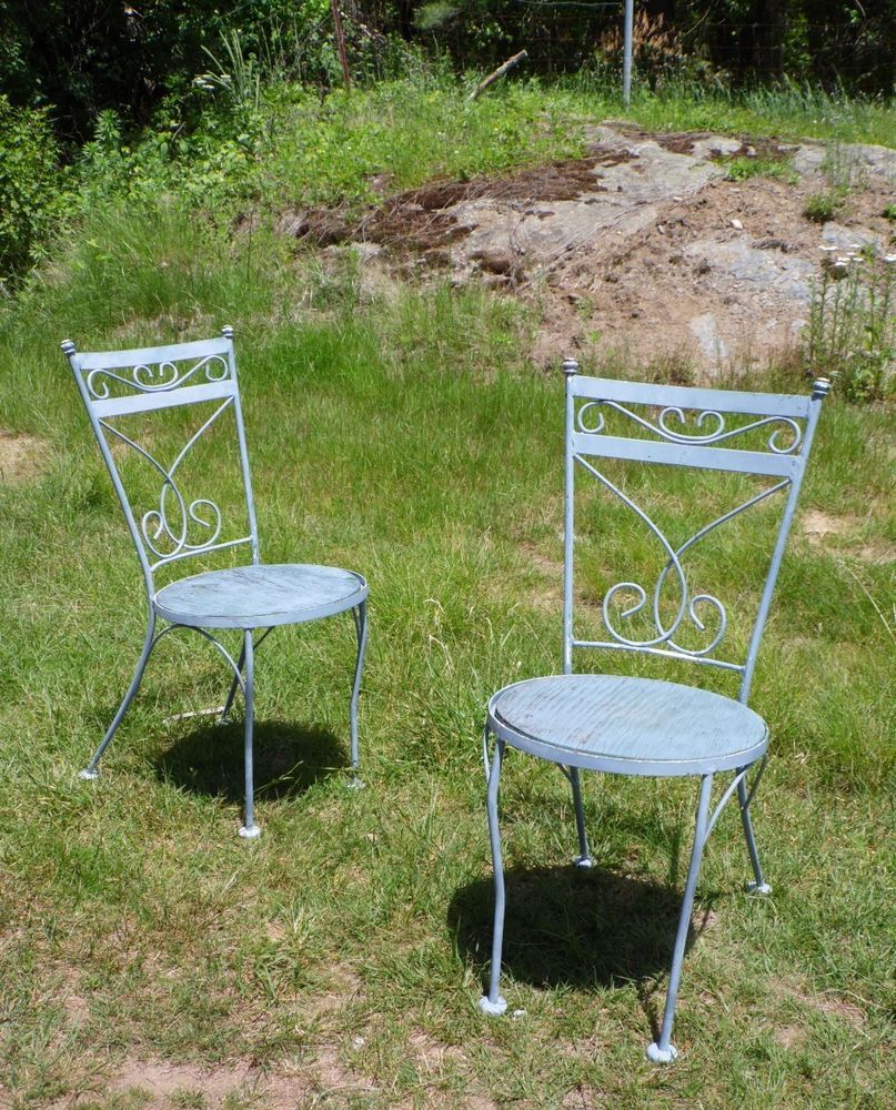 Vintage mid century modern metal folding wire mesh patio chairs - Details About Vintage Pair Mid Century Modern Iron Patio Cafe Chairs Salterini Woodard Era