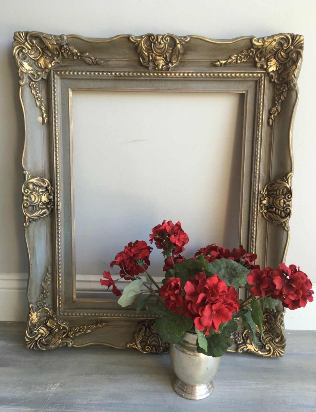 Ornate Vintage Wood Picture Frame Painted In Annie Sloan Chalk Paint French Linen Duck E Painted Picture Frames Ornate Picture Frames Painting Wood Furniture