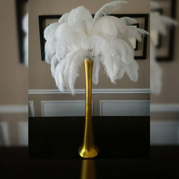 Gold Ostrich Feather Centerpiece Kits With 24 Gold Glitter Sparkle