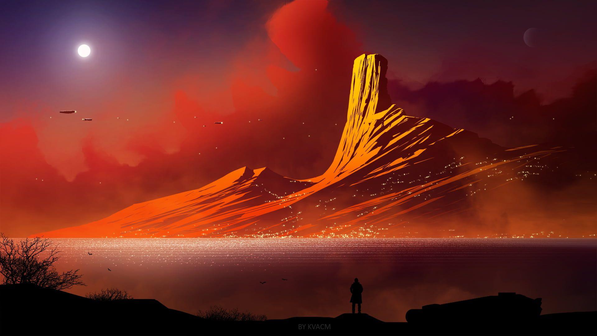 mountain illustration digital art #mountains #landscape science fiction fan  art #artwork #Kvacm fantasy ar… | Mountain illustration, Background images, Hd  wallpaper