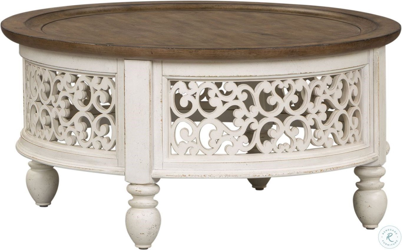 Parisian Marketplace Two Tone Heathered Brownstone Round Cocktail Table Lib 698 Ot101 In 2020 Coffee Table Farmhouse Hamptons Style Living Room Round Cocktail Tables [ 849 x 1365 Pixel ]