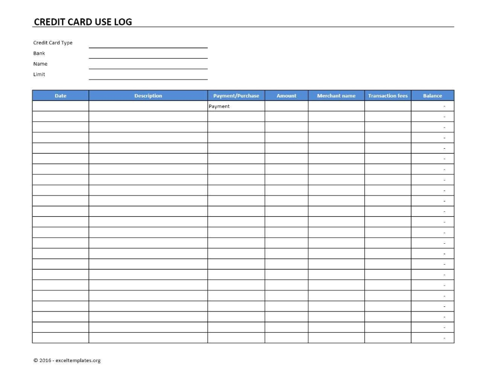Credit Card Use Log Template Excel Templates Excel Spreadsheets Pertaining To Credit Card Pay Spreadsheet Template Excel Spreadsheets Templates Excel Templates