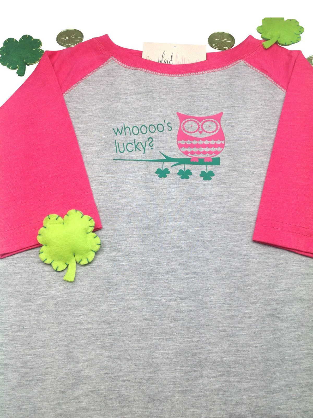 21e8f5a01 St. Patrick's Day Whooo's Lucky Pink Owl Tee or Hoodie | Owl clothes ...
