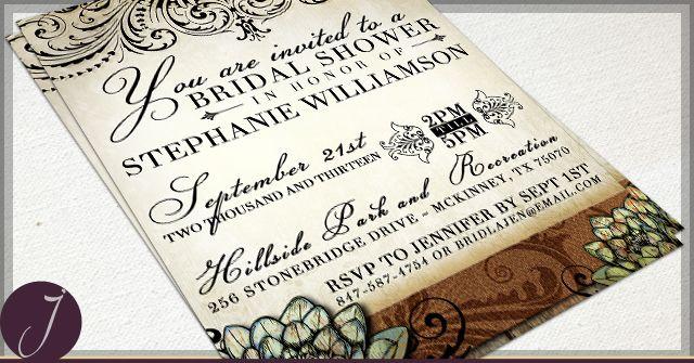 Rustic Succulent Bridal Shower Invitations Digital Flies or Professionally Printed!