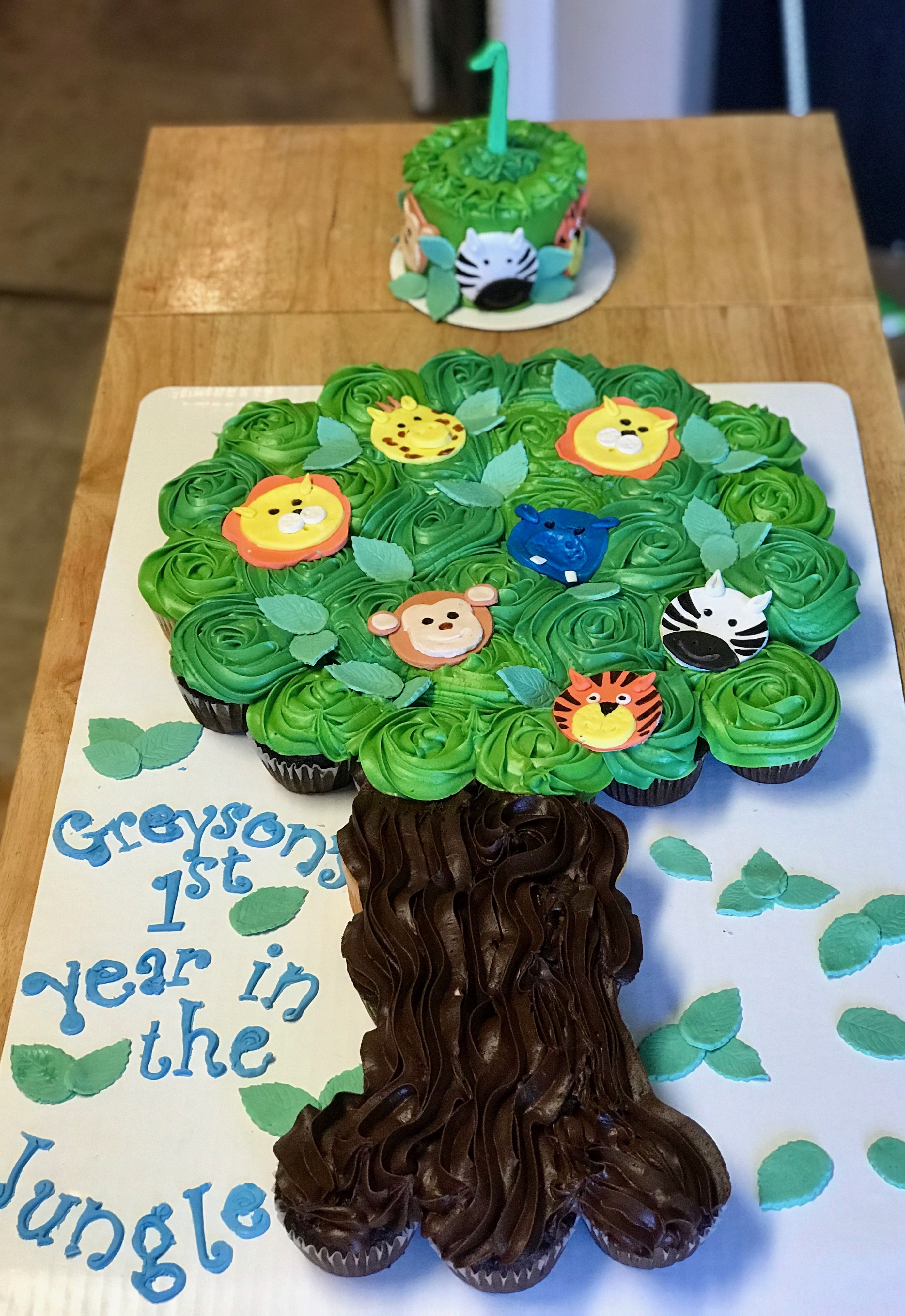 1st Birthday Jungle Themed Pull Apart Cupcake Cake Smash Cake