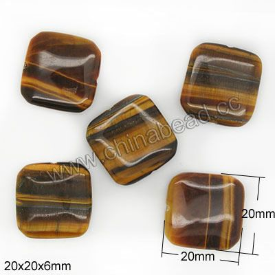 Gemstone Beads, Tigereye, Brown, Flat square, Approx 20x20x6mm, Hole: Approx 1mm, Sold per 16-inch strand