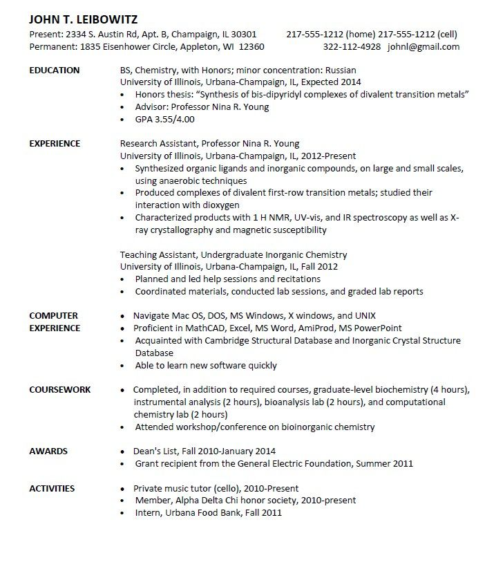 Entry Level Chemist Resume Sample