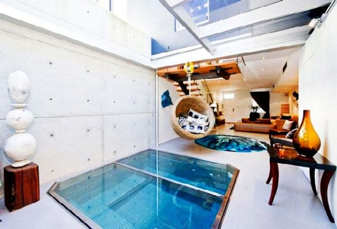 Contemporary Apartment With Aquarium Under Floor Designed In Australia Indoor Jacuzzi Indoor Hot Tub Floor Design