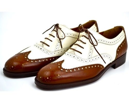 Salvatore Ferragamo Mens Brown Leather Spectator Brogue Wingtip Shoes 7 EE  | eBay