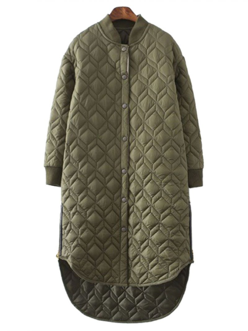 Military Green Quilted Side Zipper Detail Dipped Hem Padded Coat | abaday