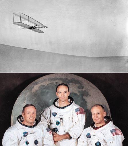 Dal primo volo alla Luna in meno di 100 anni - Nel giro di soli 67 anni siamo passati dal lancio di Wilbur Wright con il suo rudimentale aliante (1902) all'allunaggio (1969). Sessantasette anni!