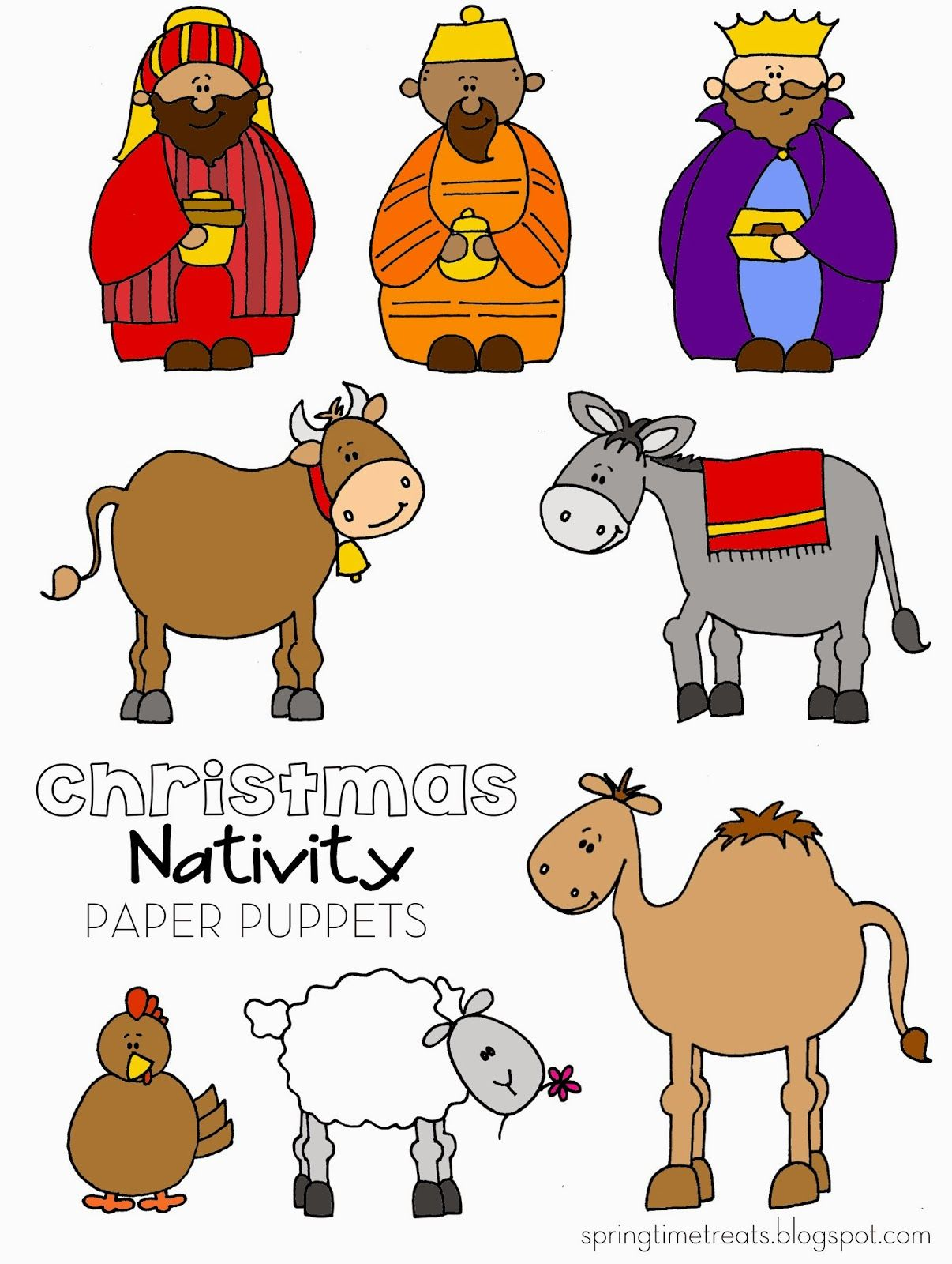 Spring Time Treats: Nativity paper puppets - FREE printables ...