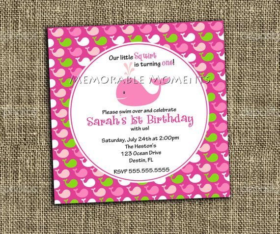 PRINTABLE INVITATION Little Squirt Pink by MemorableMomentsSt, $13.00