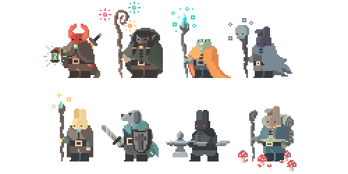 I found these old pixel fantasy pals/foes when i was digging through my hard drive, they're from sometime last year.
