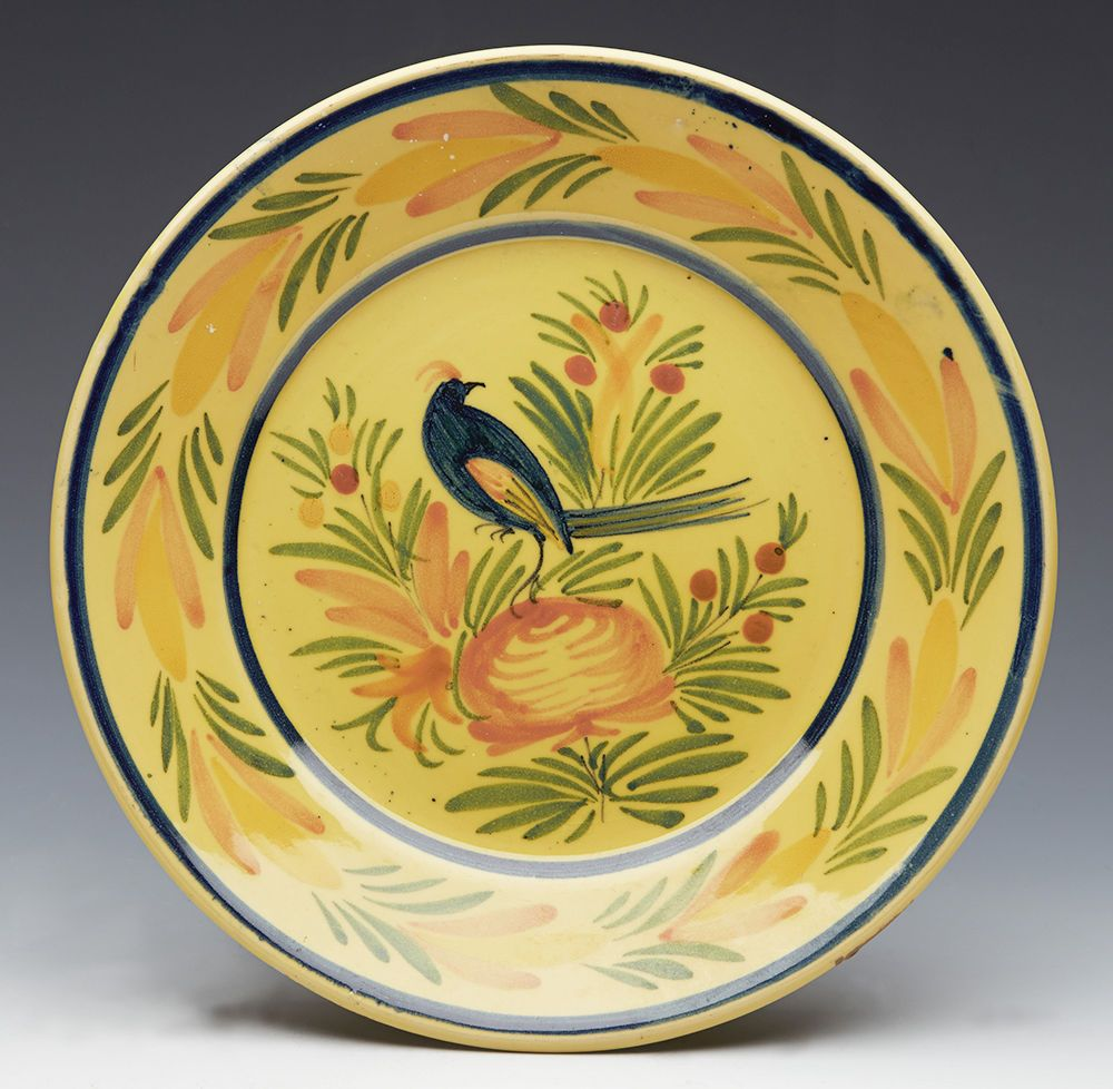 Fine Vintage Yellow Ground Henriot Quimper Faience Bird Plate 20Th C ...