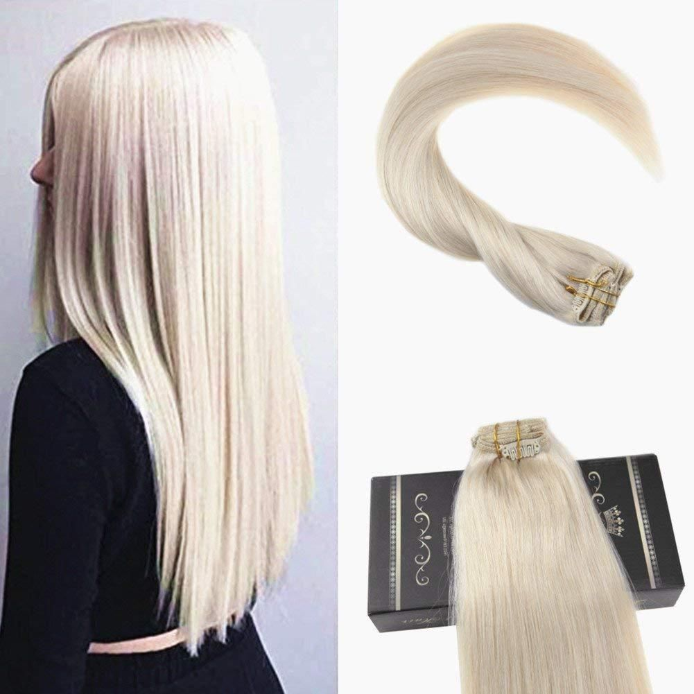 Clip In Hair For Fullness Pure Color Platinum Blonde Extensions