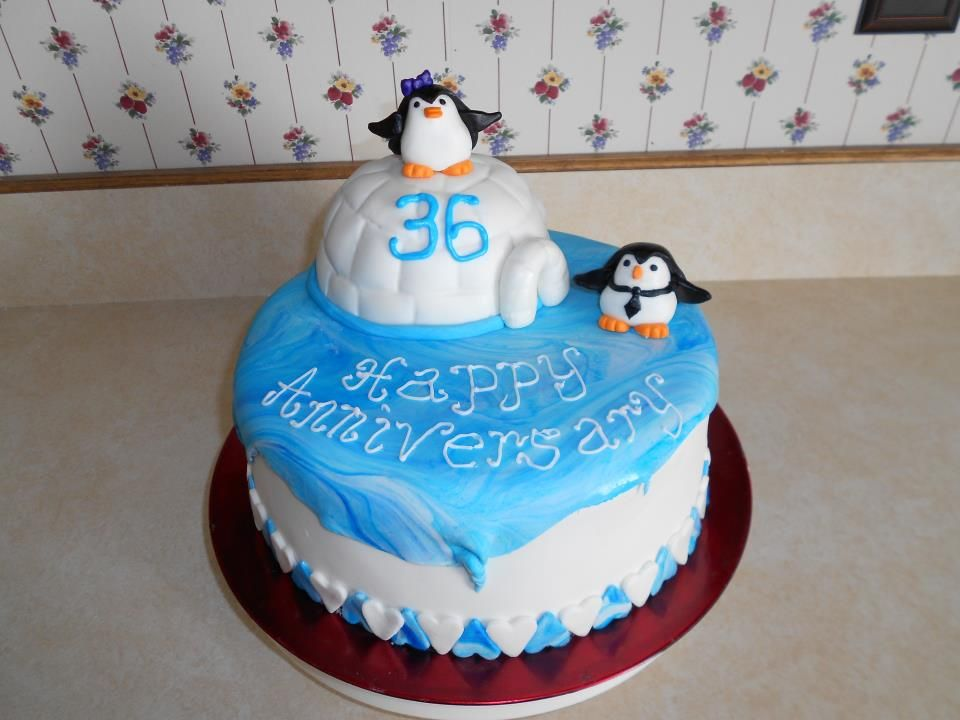 36th Wedding Anniversary Cake For My Parents 2012 Penguin