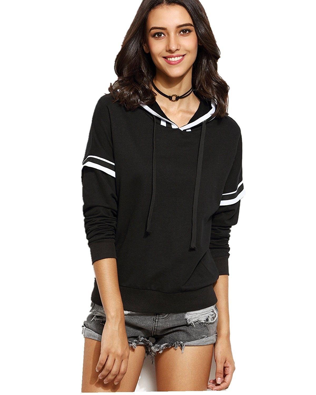 Womens Sports Hoodies Long Sleeve Sweatshirts Varsity Striped Tops Blouses Black Cb185rihh4t Tracksuit Women Sweatshirts Women Long Sleeve Tops Casual [ 1500 x 1200 Pixel ]