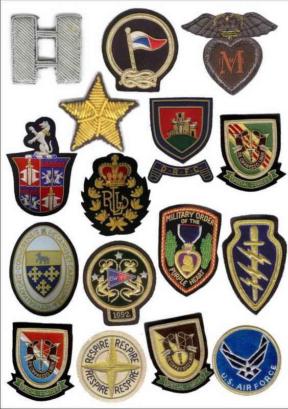 Blazer Badges - Hand Embroidered wire Bullion Crest Custom Patches