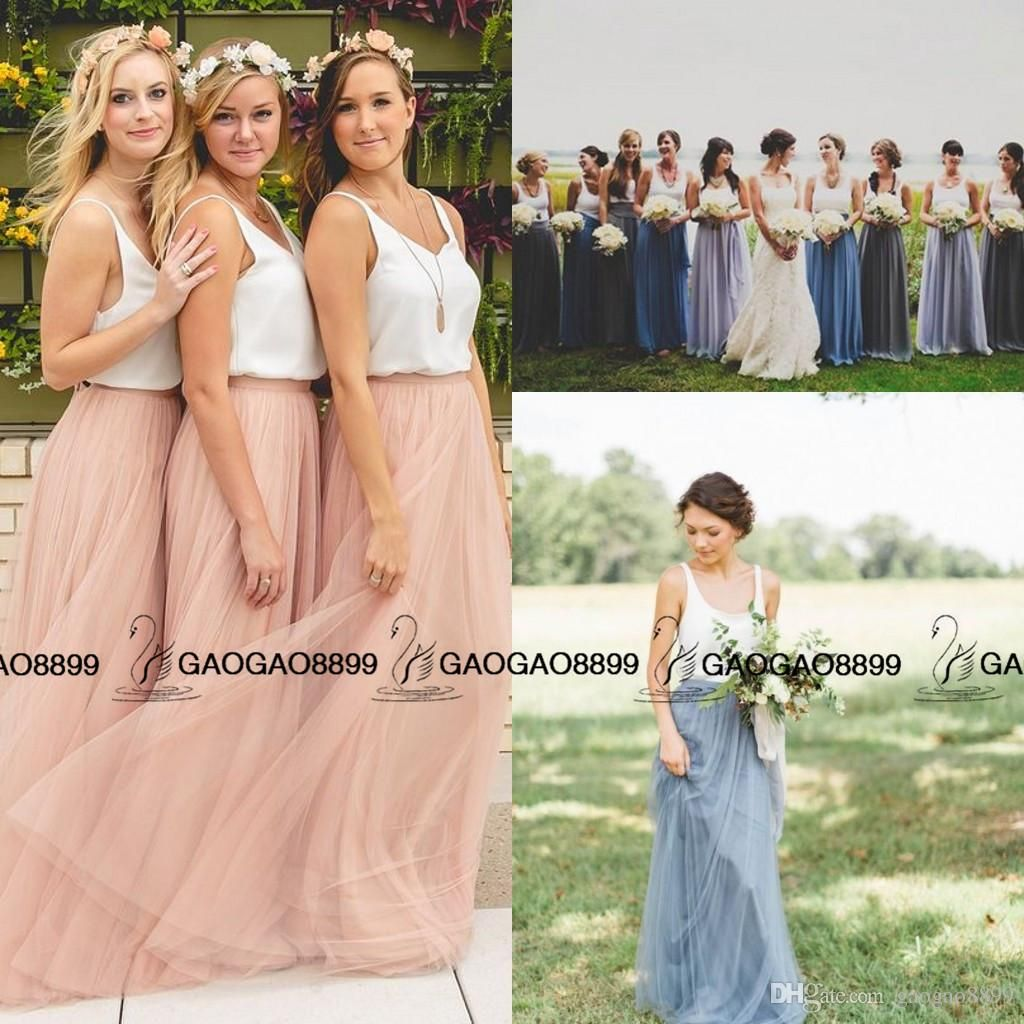 Two Tone Blush Dusty Blue Beach Bridesmaid Dresses Separates From ...